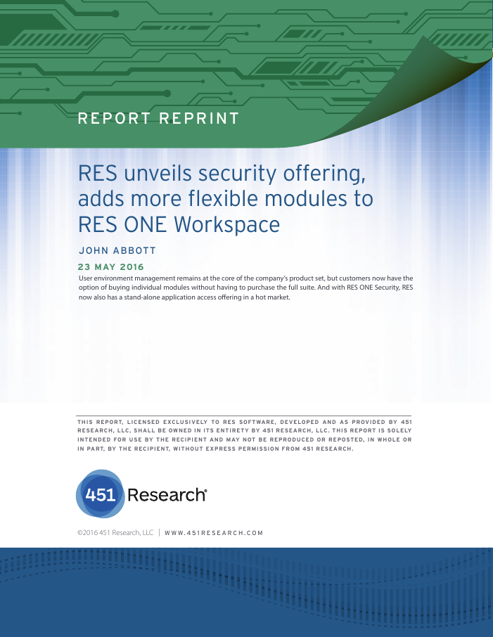 [Research Report] RES unveils security offering, adds more flexible modules to RES ONE Workspace