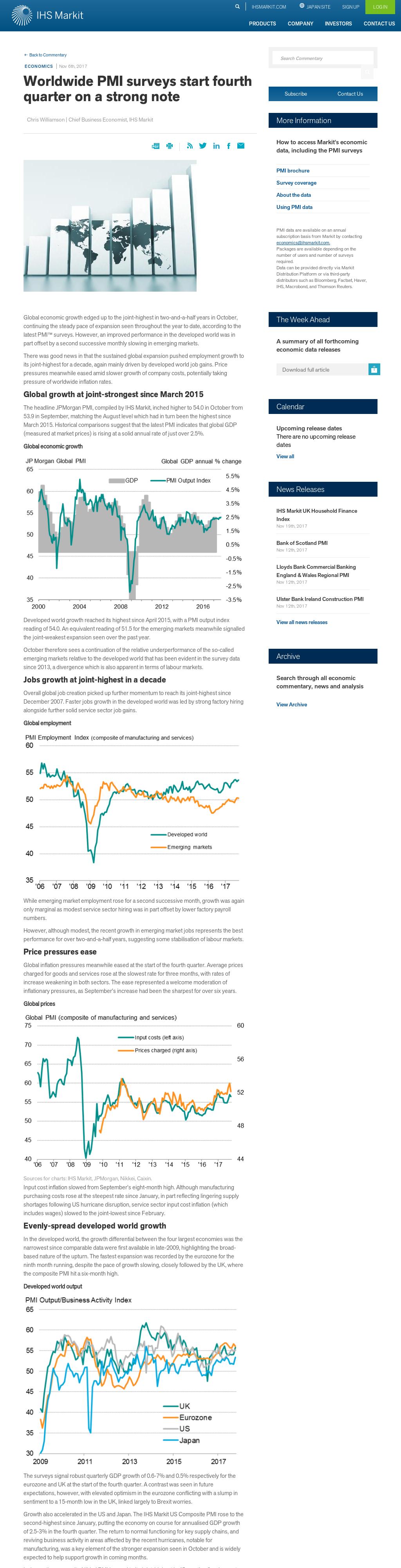 Global economy: Fourth quarter starting strong