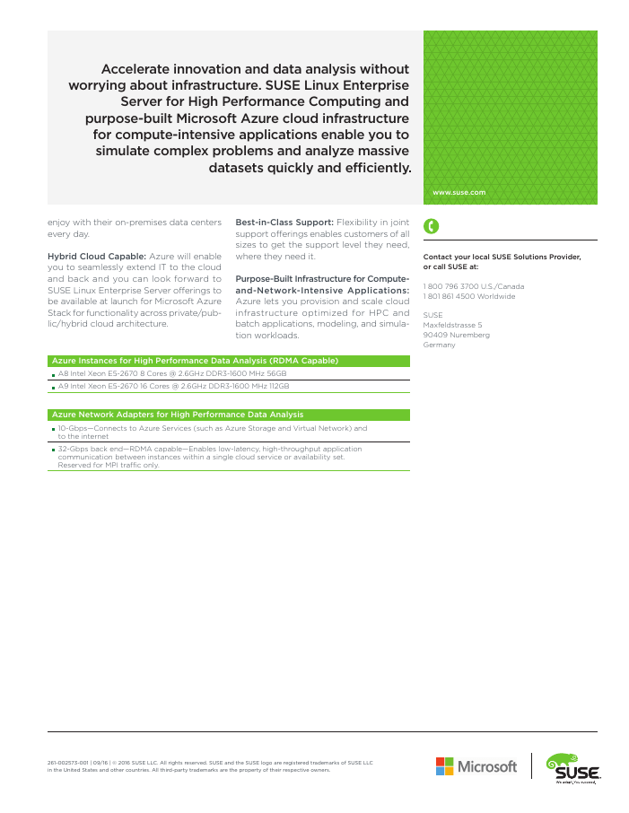 SUSE Linux Enterprise Server for HPC on Microsoft Azure