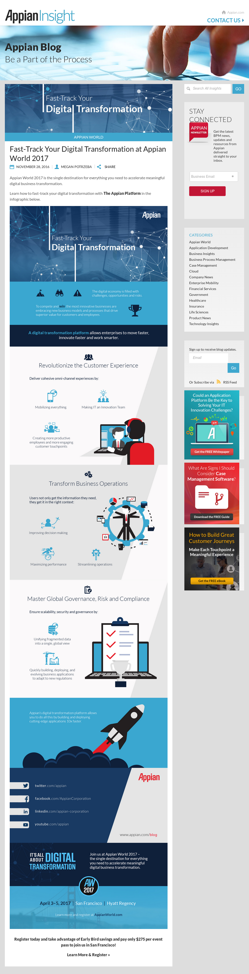 [Infographic] Fast-Track Your Digital Transformation at Appian World 2017