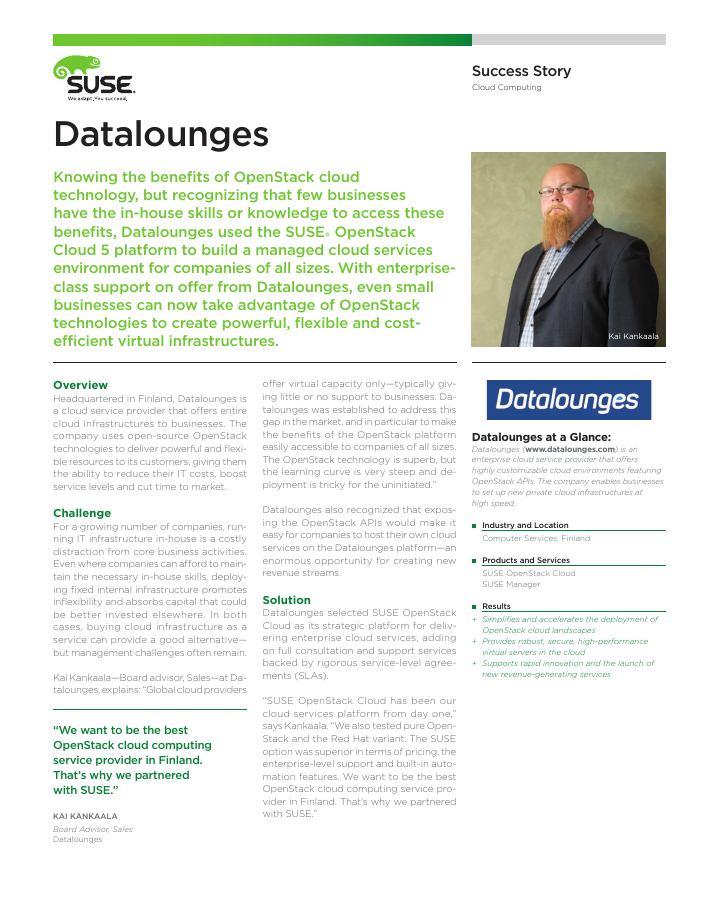 Datalounges using SUSE OpenStack Cloud on HP Blades