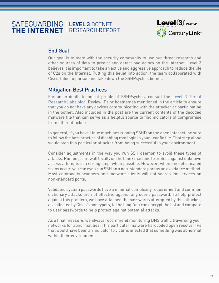 Level 3 Botnet Research Report
