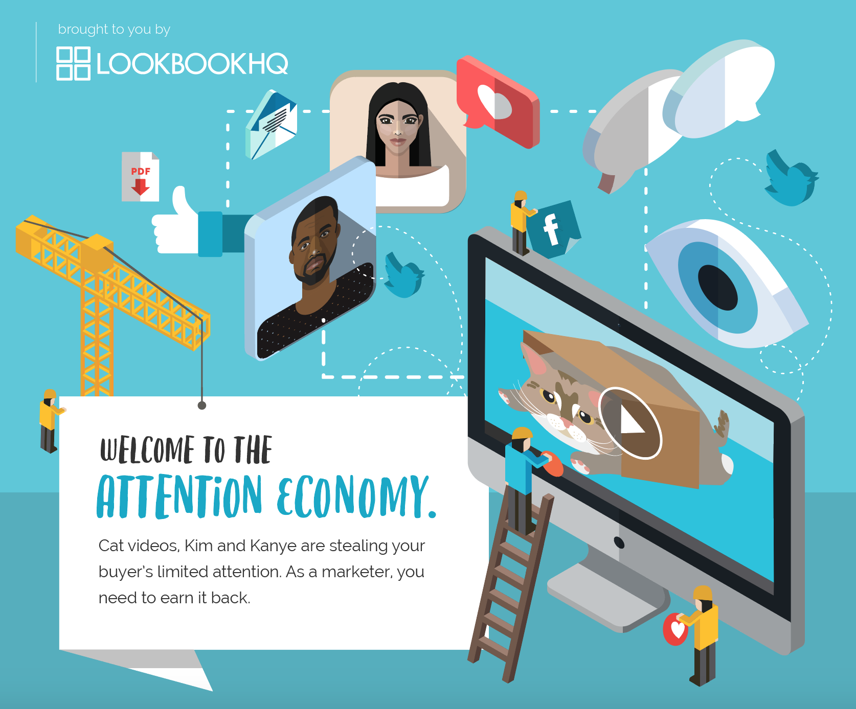 "A screenshot of the infographic's title that reads ""Welcome to the Attention Economy"" and shows cartoons representing Kanye West, Kim Kardashian, social medias and a cute cat video."