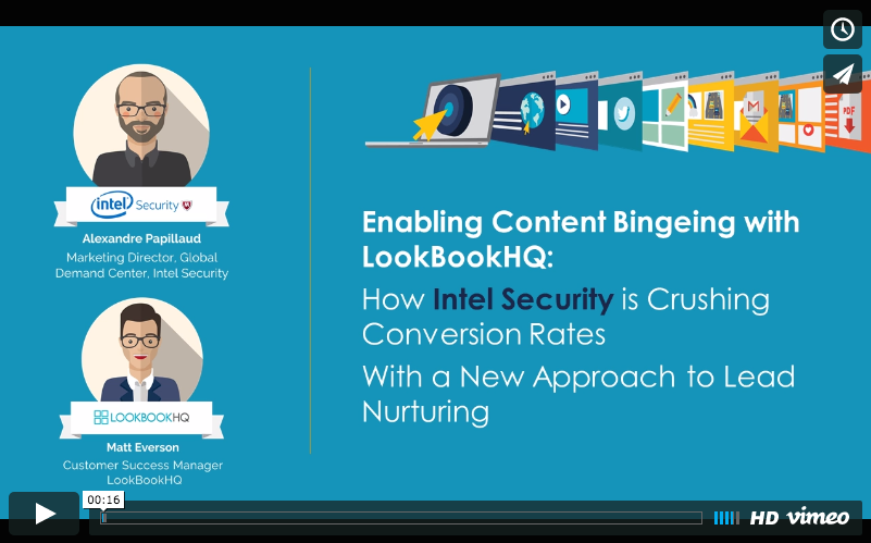 "A screenshot of the title card of the recording for the webinar titled ""Enabling Content Bingeing with LookBookHQ"""